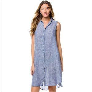CP Shades | Mara sleeveless linen shirt dress